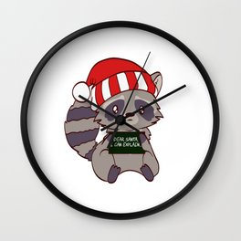 Forest Raccoon Dear Santa I Can Explain Naughty List Christmas Xmas Holiday Season T-shirt Design Wall Clock