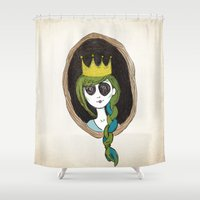 crown Shower Curtains featuring Crown by The Sketchy Neighborhood