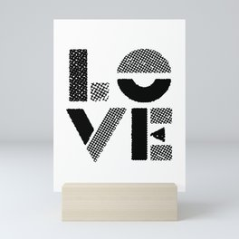 LOVE black-white contemporary minimalist vintage typography poster design home wall decor bedroom Mini Art Print
