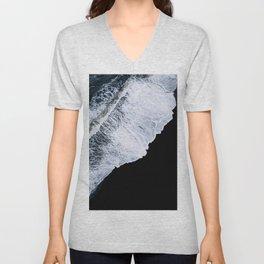 Waves crashing on a black sand beach – minimalist Landscape Photography Unisex V-Neck