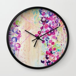 DANCE OF THE SAKURA - Lovely Floral Abstract Japanese Cherry Blossoms Painting, Feminine Peach Blue  Wall Clock