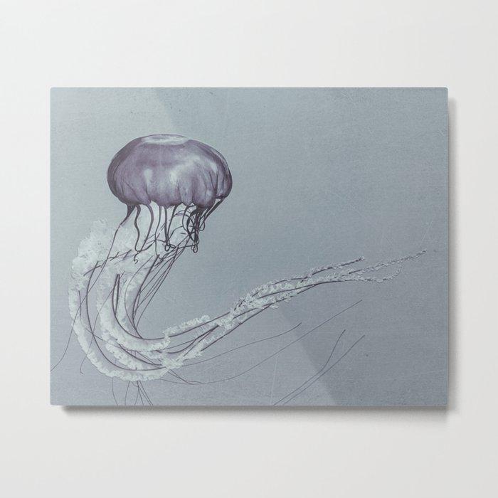 Black and White Jellyfish II Metal Print