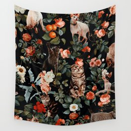 Cat and Floral Pattern II Wall Tapestry