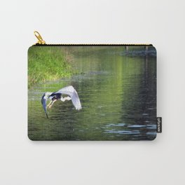 Great Blue Heron in flight, Trojan pond, near Goble, Oregon 3 Carry-All Pouch