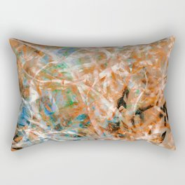 Abstract Expressionist Dance in Rust and Teal Rectangular Pillow