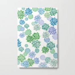 Floral succulent pattern Metal Print