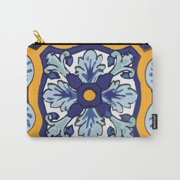 Talavera Mexican tile inspired bold design in blues and yellows Carry-All Pouch