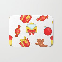 Christmas presents and candies Bath Mat