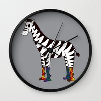 socks Wall Clocks featuring Zebra Socks by Kendra Blinde
