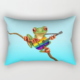 Tree Frog Playing Acoustic Guitar with Gay Pride Rainbow Flag Rectangular Pillow