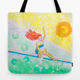 Skye & Sunshine- A Girl and Her Surfboard Tote Bag