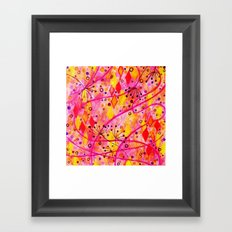 INTO THE FALL - Beautiful Nature Autumn Floral Raspberry Pink Cherry Abstract Watercolor Painting Framed Art Print
