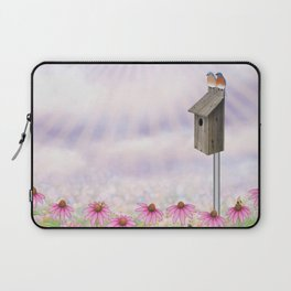 eastern bluebirds, echinacea, and bumble bees Laptop Sleeve