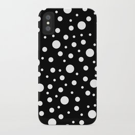 White on Black Polka Dot Pattern iPhone Case