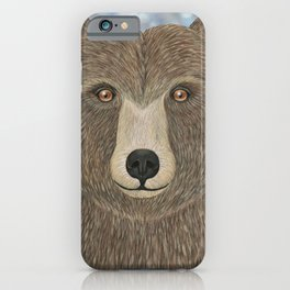 brown bear woodland animal portrait iPhone Case
