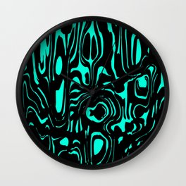 A twisted interweaving of light blue spots from flowing lava and a light chaotic cycle. Wall Clock
