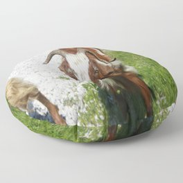 Whimsical Portrait of a Horned Goat Grazing Floor Pillow