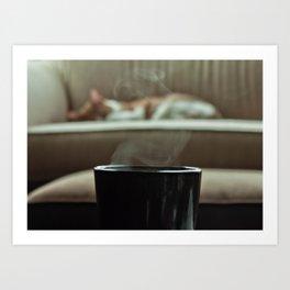 wake up to coffee  Art Print