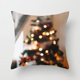 Christmas Photography - Blurred Christmas Tree Throw Pillow