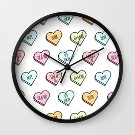 Sassy Valentines Candy Heart Pattern Wall Clock
