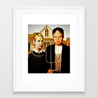 dwight Framed Art Prints featuring Dwight Schrute & Angela Martin (The Office: American Gothic) by Silvio Ledbetter