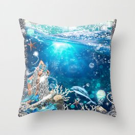 Enchanted Mermaid Sea Throw Pillow