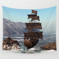 pirate ship Wall Tapestries featuring Pirate Ship by Simone Gatterwe