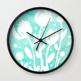 Whimsical watercolor flowers – turquoise Wall Clock