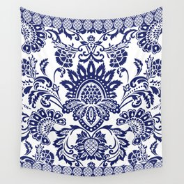 damask blue and white Wall Tapestry