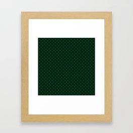Dark green polka dot Framed Art Print