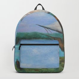 Shelter from the Storm, Two Sailboats nautical sailboat landscape painting by Hayley Lever Backpack