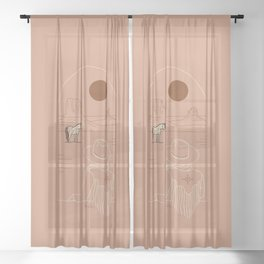 Lost Pony - Pink Clay Sheer Curtain