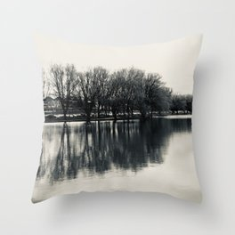 Guitar Shaped Reflection, Black and White Throw Pillow
