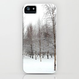 tree patterns in the snow iPhone Case