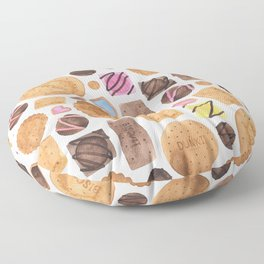Selection of Sweets, Candy, Cakes and Biscuits Floor Pillow