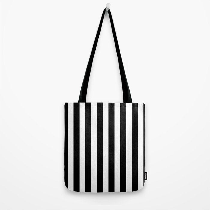 Classic Black and White Football / Soccer Referee Stripes Tote Bag