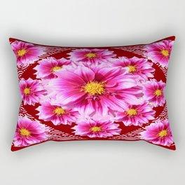 Cinnamon Brown Fuchsia-Pink Dahlias Pattern Abstract Rectangular Pillow
