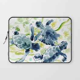 Sea Turtles , Indigo Blue Olive green Turtle art Laptop Sleeve