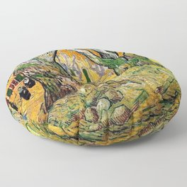 Road Works at Saint-Remy by Vincent van Gogh Floor Pillow