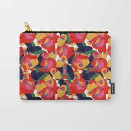 80's Abstract Floral Repeat in Warm Carry-All Pouch