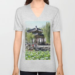 Ancient Imperial Garden of the Qing Dynasty | Ancien Jardin Impérial de la dynasty de Qings Unisex V-Neck