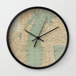 Vintage Lake Michigan Lighthouse Map (1898) Wall Clock