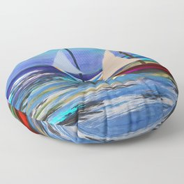 Seascape Boats Painting Impressionism Blue Ocean Art Floor Pillow