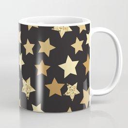 Golden Stars on Black Background Pattern Coffee Mug