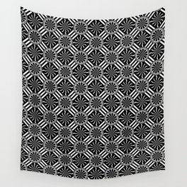 Wavy Black and White Pinwheel and Stripes Pattern - Graphic Design Wall Tapestry