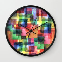 Watercolor blots plaid :) Wall Clock