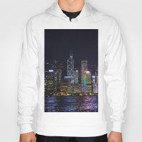 hong kong Hoodies featuring Hong Kong Night Skyline by Deborah Janke