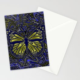 Monarch Butterfly Abstract Art Yellow Blue Stationery Cards