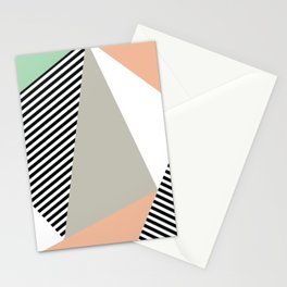 Stripes & Triangles - Peach & Mint Stationery Cards