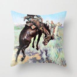 Busting a Broncho - William Herbert Dunton Throw Pillow